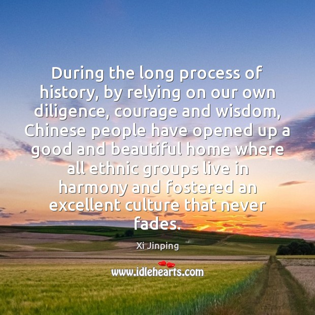 Image, During the long process of history, by relying on our own diligence,