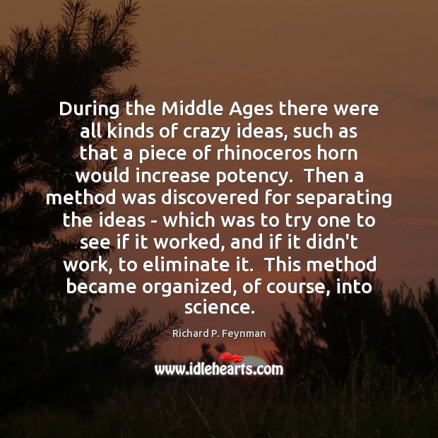 During the Middle Ages there were all kinds of crazy ideas, such Richard P. Feynman Picture Quote