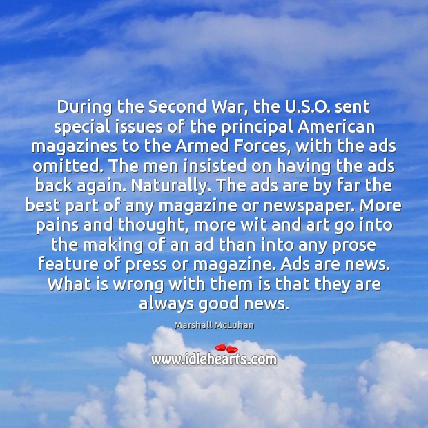 During the Second War, the U.S.O. sent special issues of Image