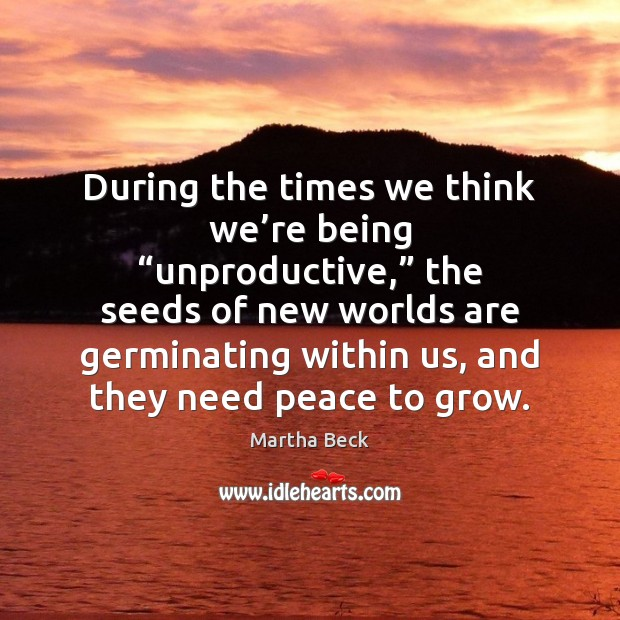 """During the times we think we're being """"unproductive,"""" the seeds of Martha Beck Picture Quote"""