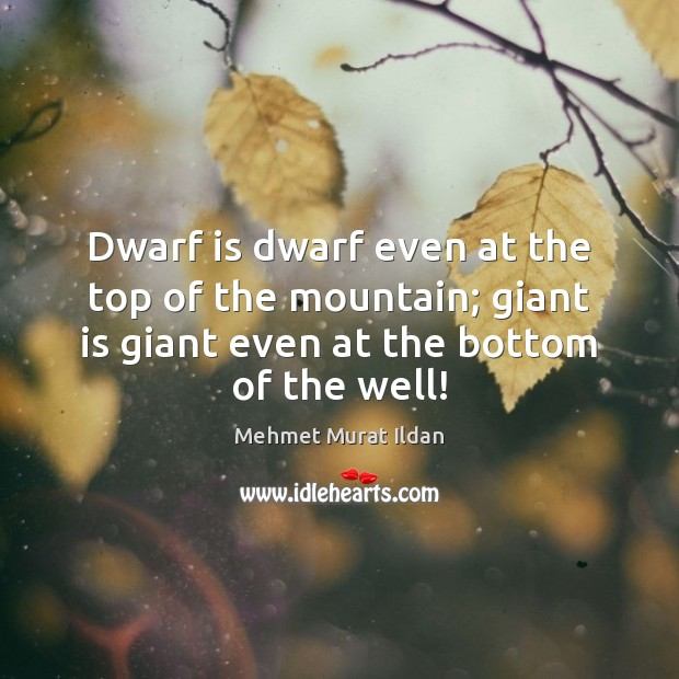Image, Dwarf is dwarf even at the top of the mountain; giant is