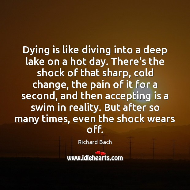 Dying is like diving into a deep lake on a hot day. Image