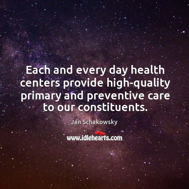 Each and every day health centers provide high-quality primary and preventive care to our constituents. Image
