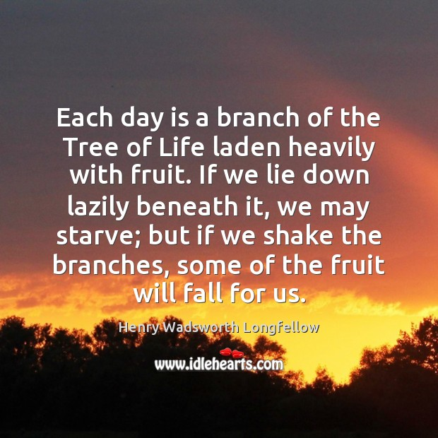Image, Each day is a branch of the Tree of Life laden heavily
