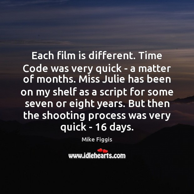 Each film is different. Time Code was very quick – a matter Mike Figgis Picture Quote