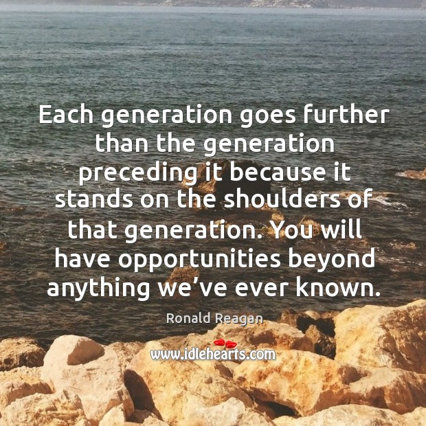 Image, Each generation goes further than the generation preceding