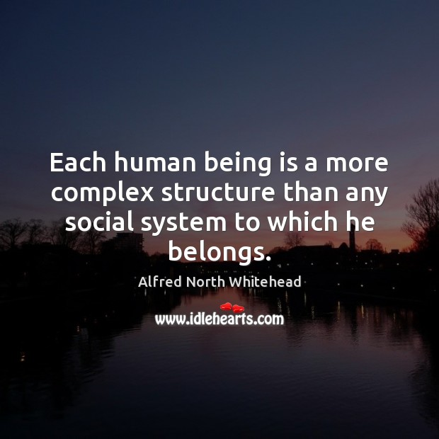 Each human being is a more complex structure than any social system to which he belongs. Image