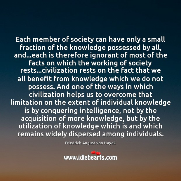 Each member of society can have only a small fraction of the Friedrich August von Hayek Picture Quote