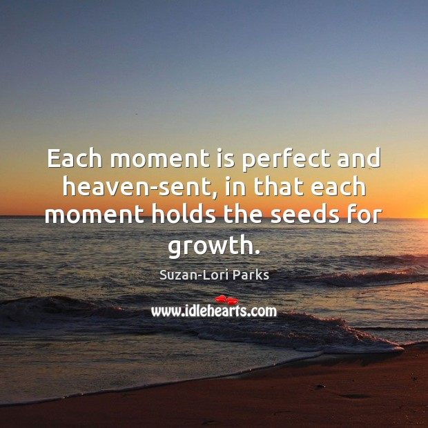 Each moment is perfect and heaven-sent, in that each moment holds the seeds for growth. Growth Quotes Image