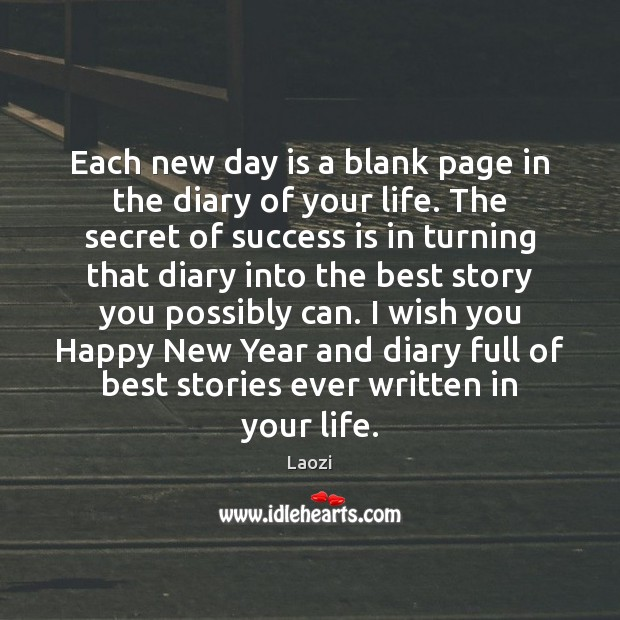 Image, Each new day is a blank page in the diary of your