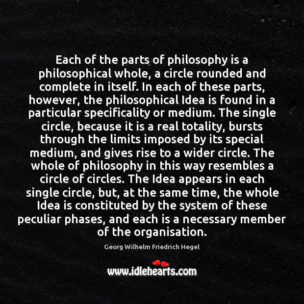 Each of the parts of philosophy is a philosophical whole, a circle Georg Wilhelm Friedrich Hegel Picture Quote