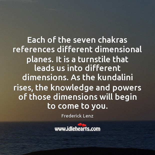 Each of the seven chakras references different dimensional planes. It is a Image