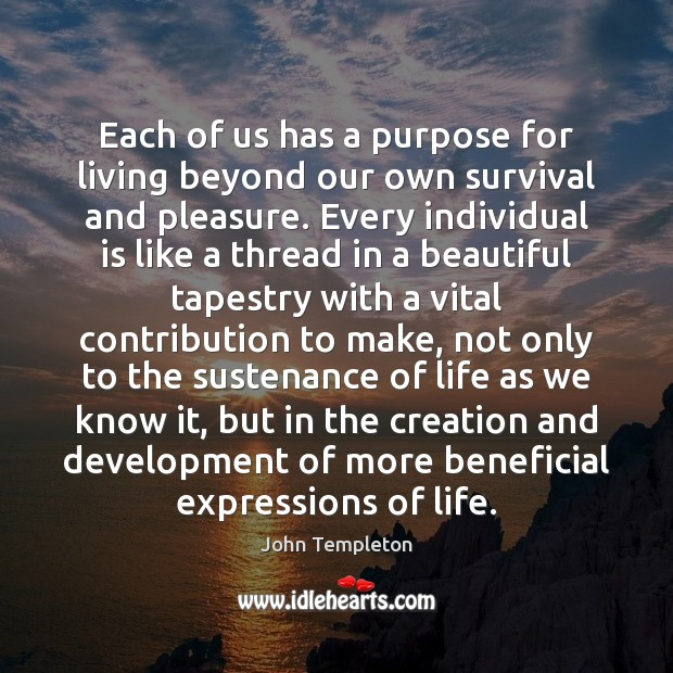 Each of us has a purpose for living beyond our own survival Image