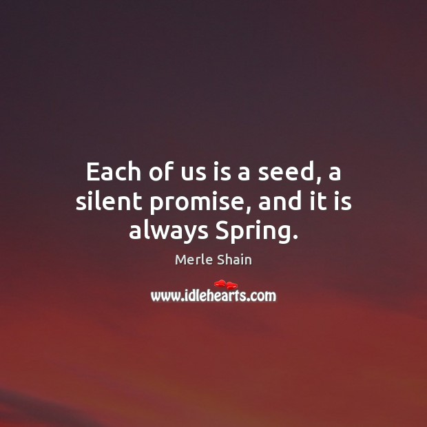 Each of us is a seed, a silent promise, and it is always Spring. Merle Shain Picture Quote