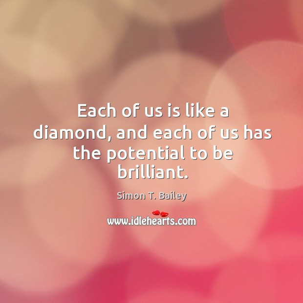 Each of us is like a diamond, and each of us has the potential to be brilliant. Image