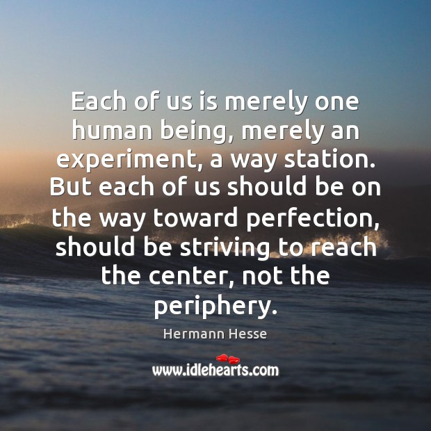 Image, Each of us is merely one human being, merely an experiment, a