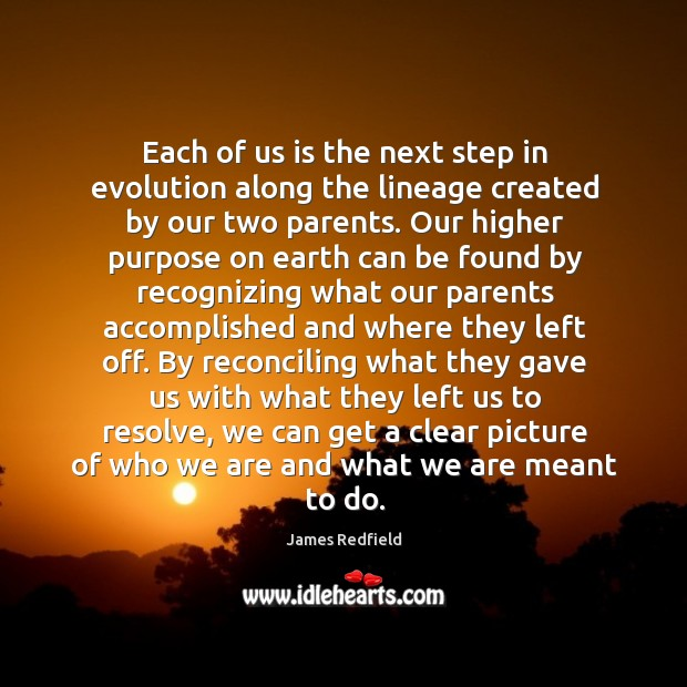 Each of us is the next step in evolution along the lineage James Redfield Picture Quote