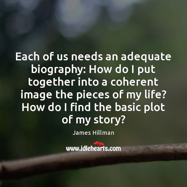 Each of us needs an adequate biography: How do I put together James Hillman Picture Quote