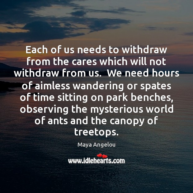Image, Each of us needs to withdraw from the cares which will not