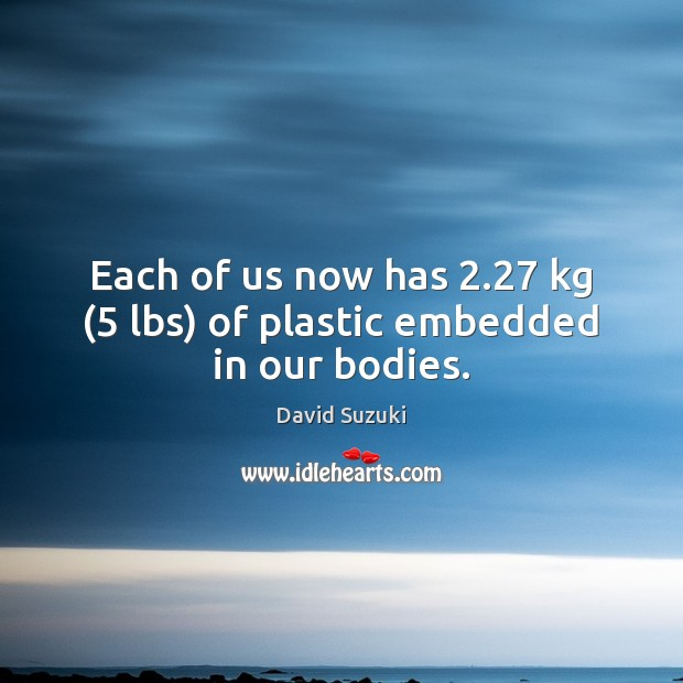 Each of us now has 2.27 kg (5 lbs) of plastic embedded in our bodies. Image
