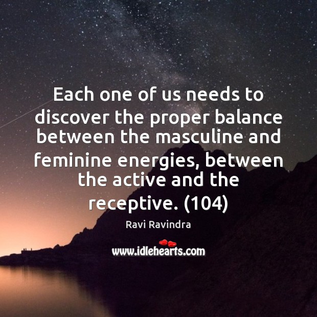 Each one of us needs to discover the proper balance between the Image