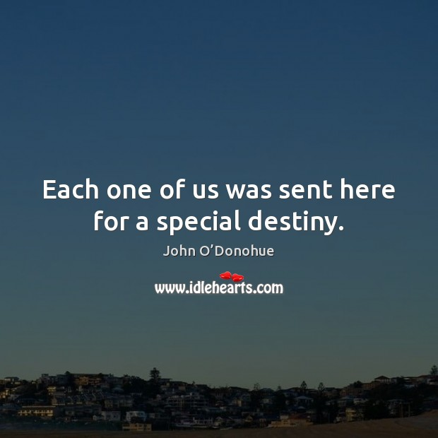 Each one of us was sent here for a special destiny. John O'Donohue Picture Quote