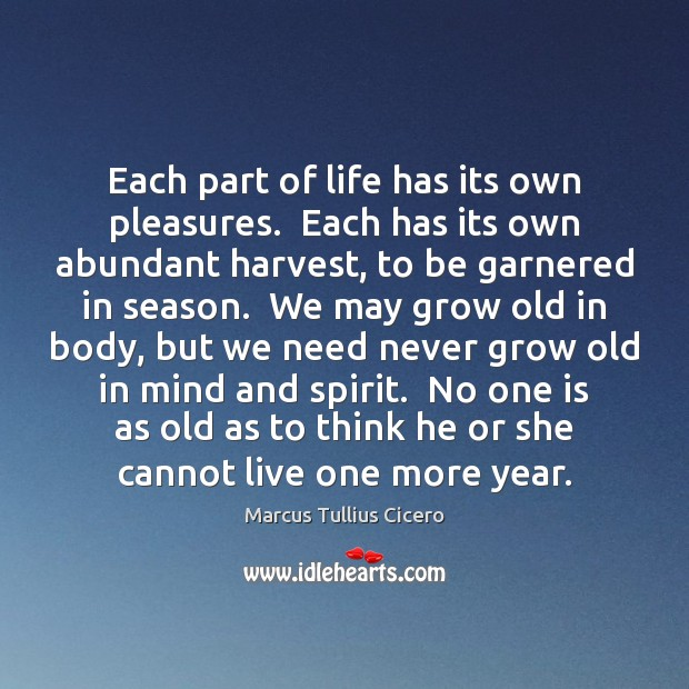 Image, Abundant, Aging, Body, Cannot, Each, Grow, Grows, Harvest, He, Life, Live, May, Mind, More, Need, Needs, Never, Old, Own, Part, Parts Of Life, Pleasure, Pleasures, Season, Seasons, She, Spirit, Think, Thinking, Year, Years