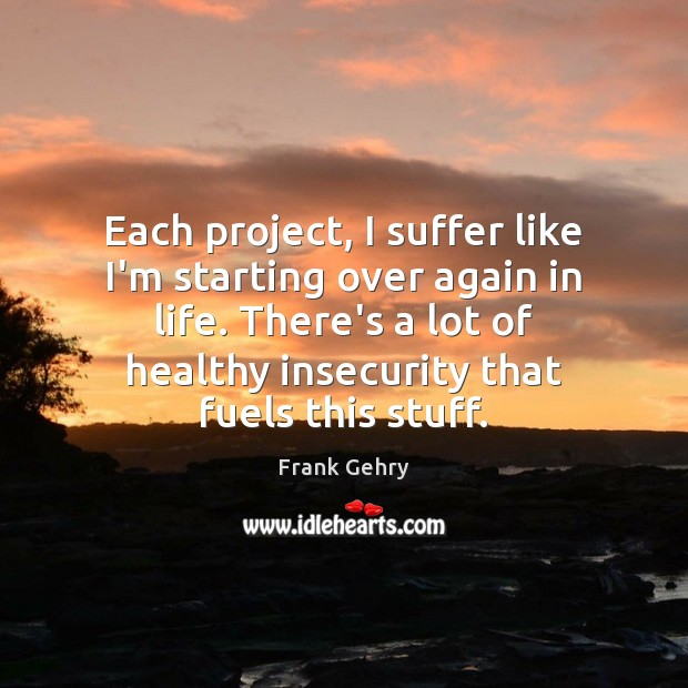 Each project, I suffer like I'm starting over again in life. There's Frank Gehry Picture Quote