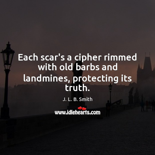 Image, Each scar's a cipher rimmed with old barbs and landmines, protecting its truth.