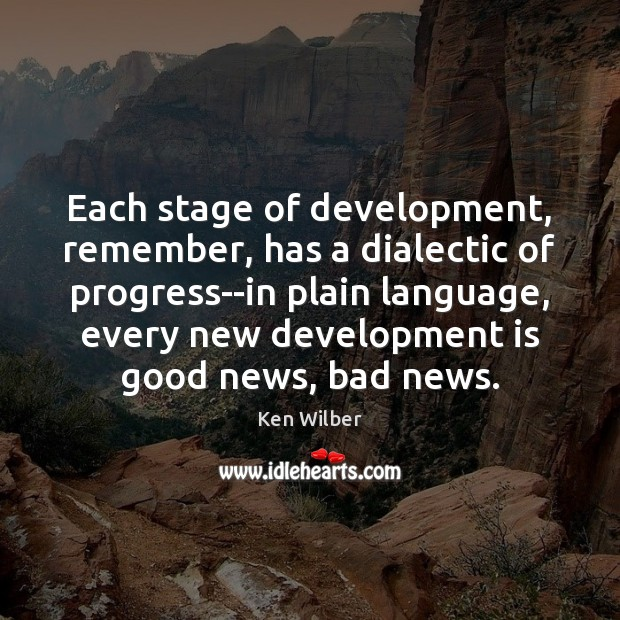 Each stage of development, remember, has a dialectic of progress–in plain language, Ken Wilber Picture Quote