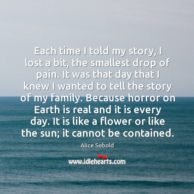 Each time I told my story, I lost a bit, the smallest Image