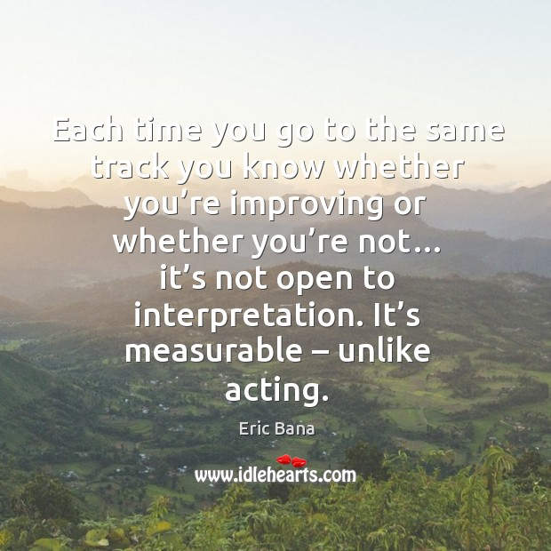 Each time you go to the same track you know whether you're improving or whether you're not… Image