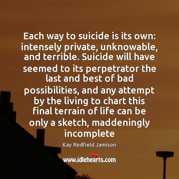 Each way to suicide is its own: intensely private, unknowable, and terrible. Image