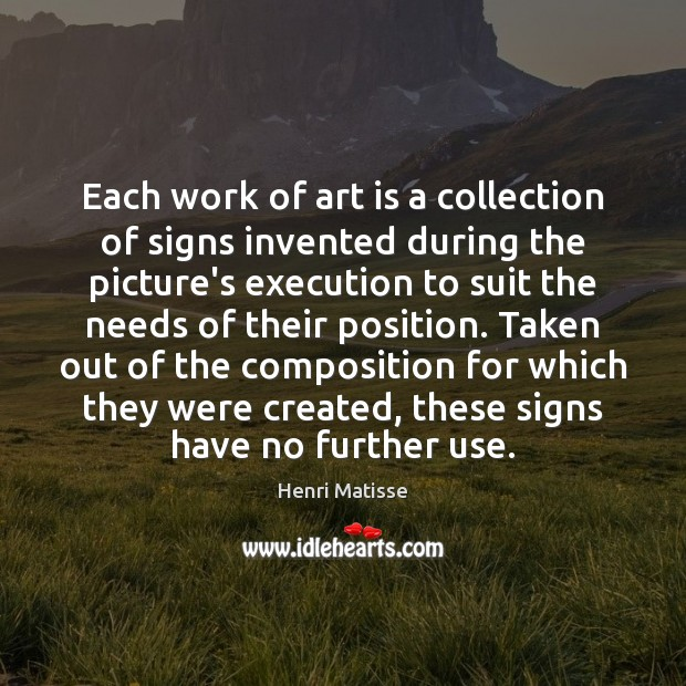 Each work of art is a collection of signs invented during the Image