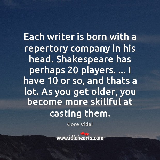Each writer is born with a repertory company in his head. Shakespeare Image