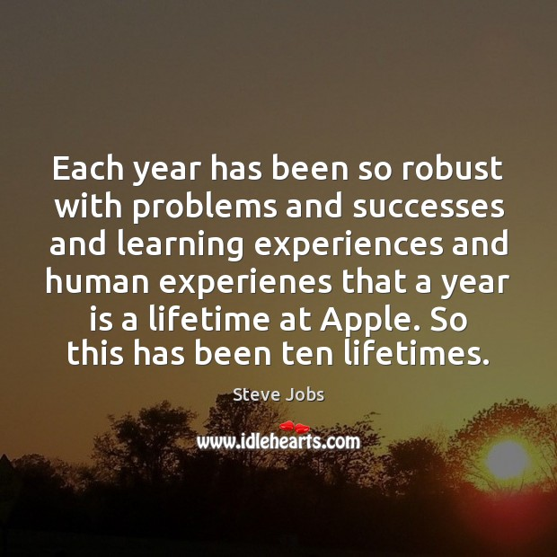 Image, Each year has been so robust with problems and successes and learning
