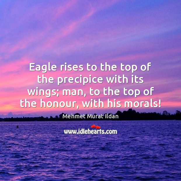 Image, Eagle rises to the top of the precipice with its wings; man,