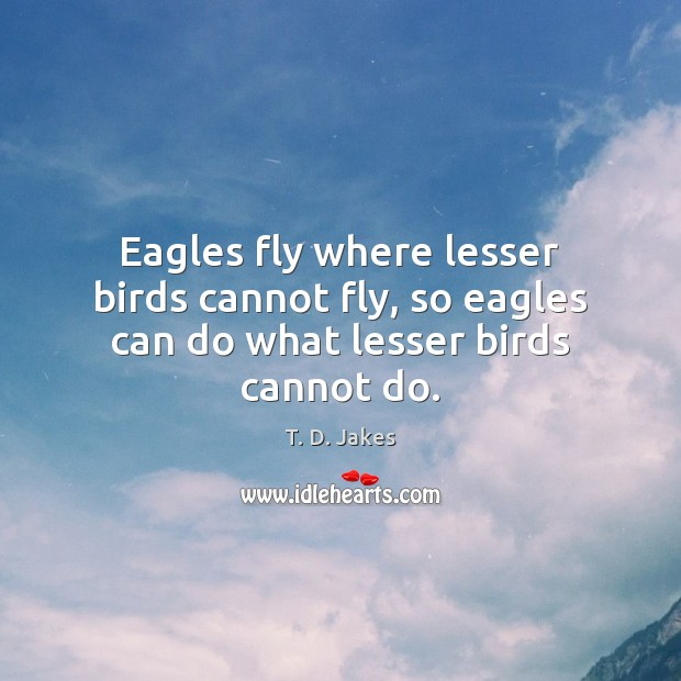 Eagles fly where lesser birds cannot fly, so eagles can do what lesser birds cannot do. Image