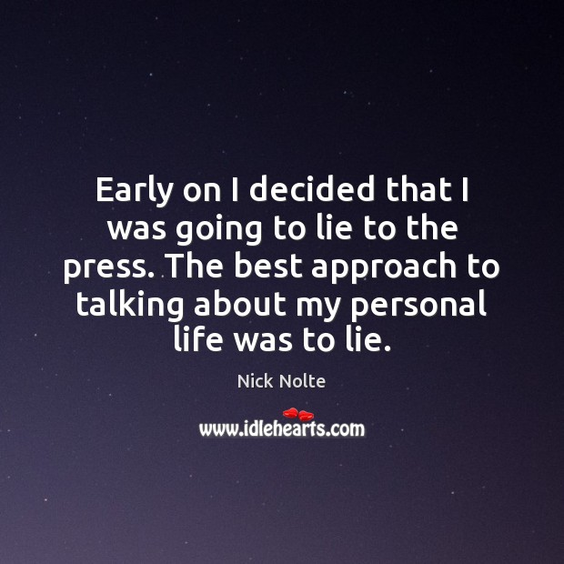 Nick Nolte Picture Quote image saying: Early on I decided that I was going to lie to the