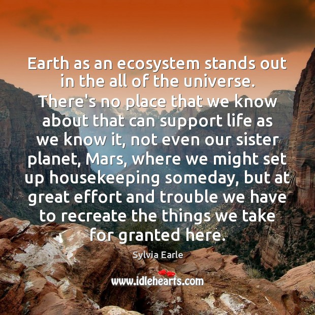 Earth as an ecosystem stands out in the all of the universe. Image
