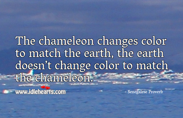 The chameleon changes color to match the earth. Senegalese Proverbs Image