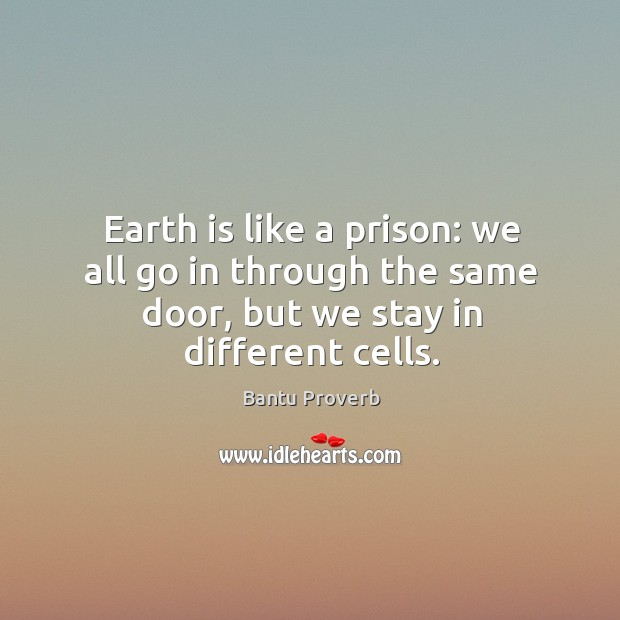 Earth is like a prison: we all go in through the same door Bantu Proverbs Image