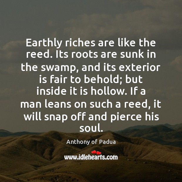 Image, Earthly riches are like the reed. Its roots are sunk in the