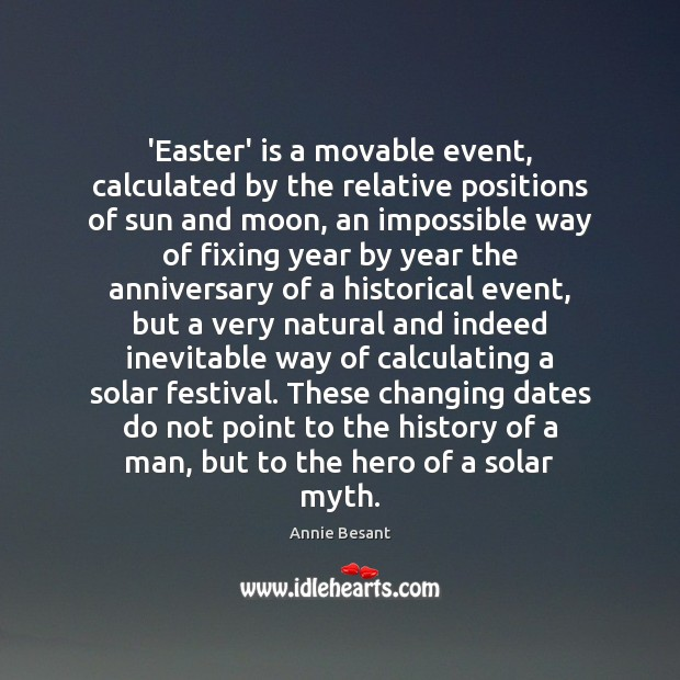 'Easter' is a movable event, calculated by the relative positions of sun Easter Quotes Image