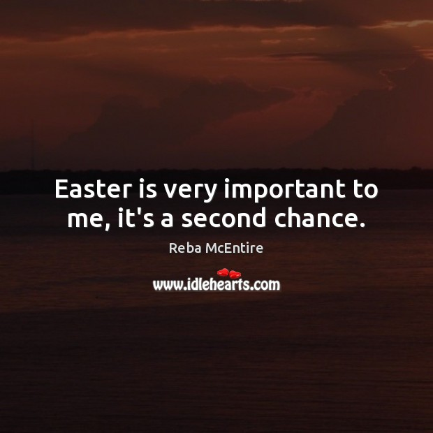 Easter is very important to me, it's a second chance. Easter Quotes Image