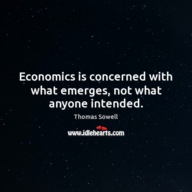 Image, Economics is concerned with what emerges, not what anyone intended.