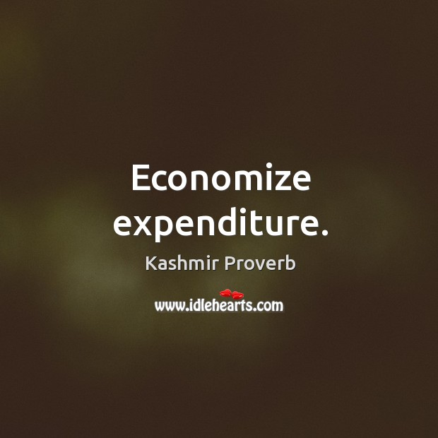 Economize expenditure. Kashmir Proverbs Image