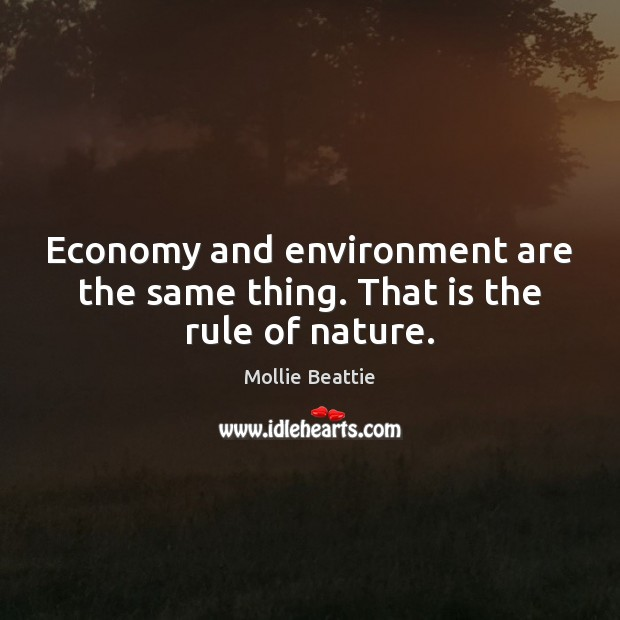 Economy and environment are the same thing. That is the rule of nature. Image