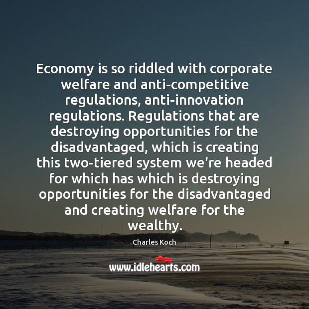 Economy is so riddled with corporate welfare and anti-competitive regulations, anti-innovation regulations. Charles Koch Picture Quote