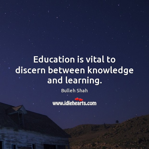 Education is vital to discern between knowledge and learning. Image